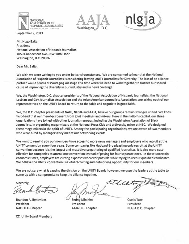Joint Letter from D.C. Chapter Presidents of NAHJ, AAJA, and NLGJA to UNITY Board Members