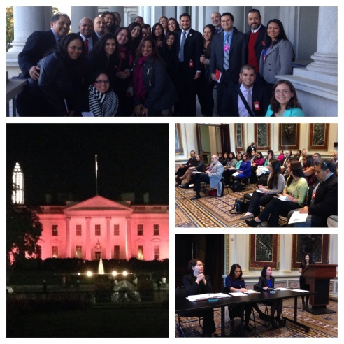 More than 30 members of the National Association of Hispanic  Journalists attended the D.C. Chapter November membership meeting at  The White House.  Cecilia Muñoz, White House Director of the Domestic  Policy Council, Mayra Alvarez, Associate Director for the Office of Minority Health, Health and Human Services, and Felicia Escobar, White  House Senior Policy Director for Immigration briefed NAHJ members on  President Obama's priorities toward the Latino Community. NAHJ national President Hugo Balto attended the meeting at the Old  Executive Office building. NAHJ members from the New York area drove  in for the meeting.