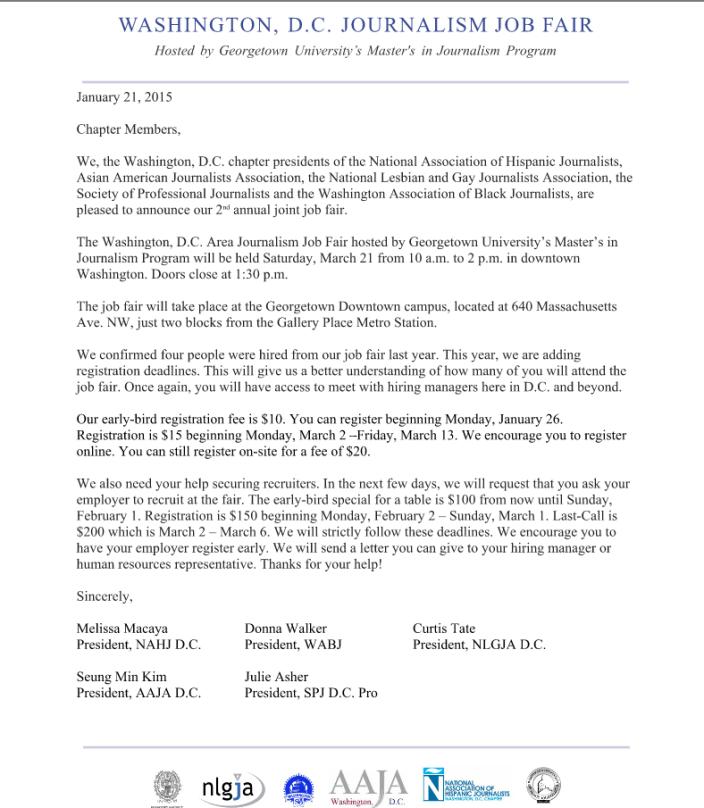 Washington Job Fair Membership Letter