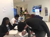 Our wonderful volunteers helping job seekers register for the job fair