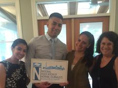 NAHJDC Board with one of the summer Charlie Ericksen supplement winners Issmar Ventura