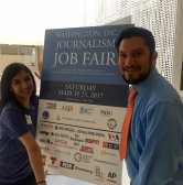 Current Washington Journalism Job Fair Azhar Alfadl Miranda poses with former chair and current NAHJ President Brandon Benavides